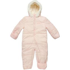 Pink platinum one piece winter puffer baby girls snowsuit