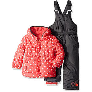 Pink platinum two piece insulated snowsuit for girls