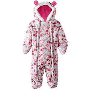 Pink platinum owl microfleece quilted puffer snow suit pram bunting for baby girls