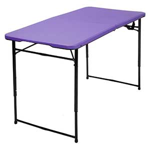 Cosco Products Center Fold Tailgate Table with Carrying Handle, Purple Table Top & Black Frame, 4′