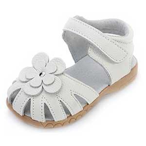 Femizee Girls Genuine Leather Soft Closed Toe Princess Flat Shoes Summer Sandals
