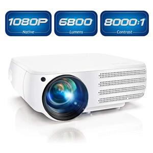 Projector 1080P Native 6800 Lumens HDMI Movie Projector