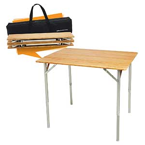 SmartFlip Bamboo Portable Outdoor Picnic Folding Table with Adjustable Height & Carry Bag