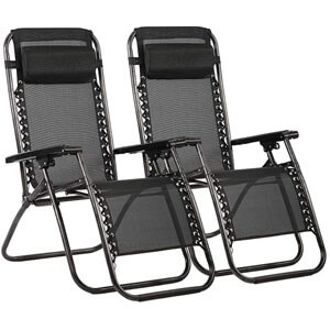 Zero Gravity Chairs Case Of (2) Black Lounge Patio Chairs